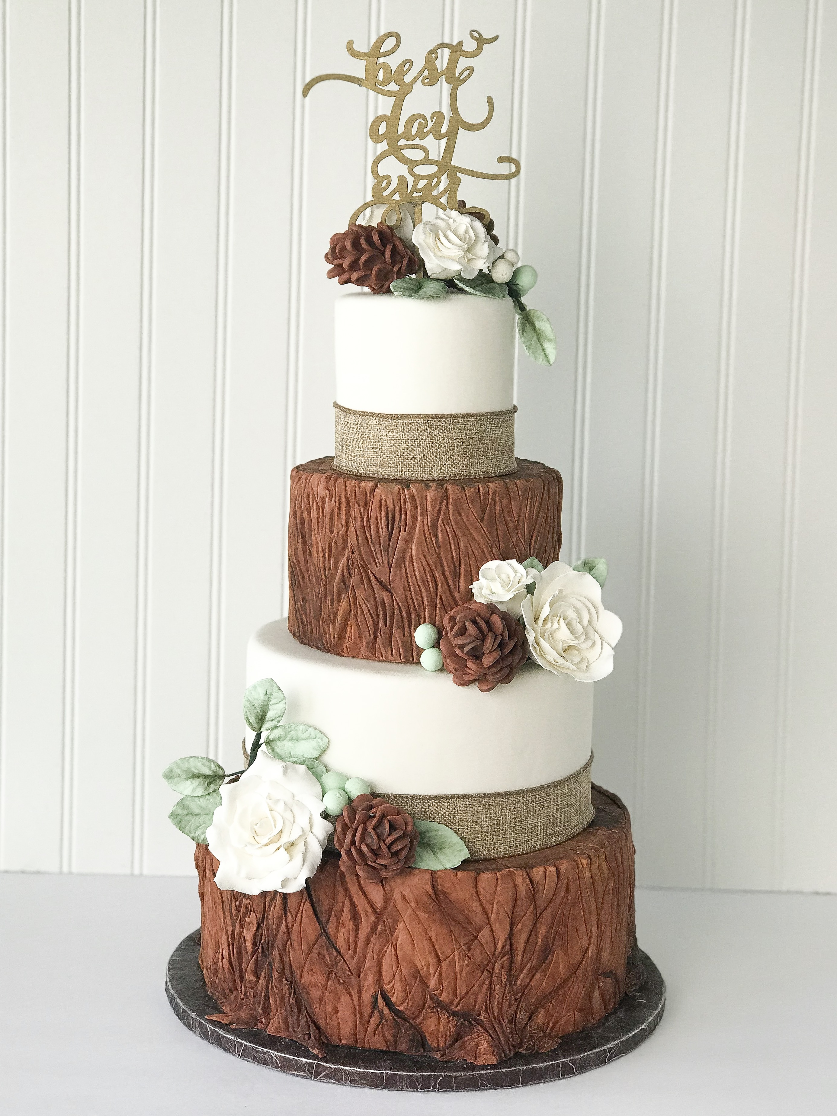 Brown and white bark wedding cake