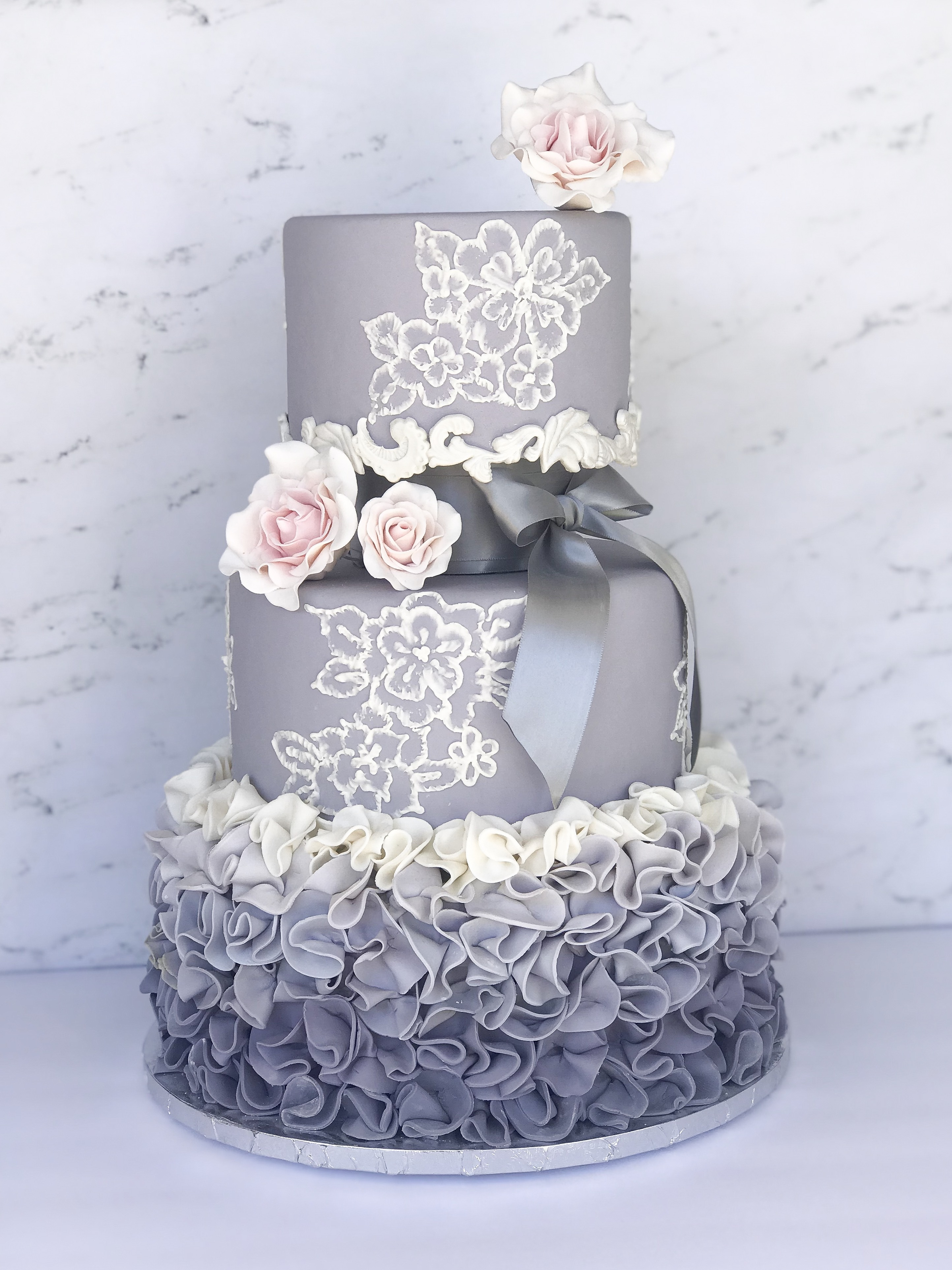 Purple and white wedding cake