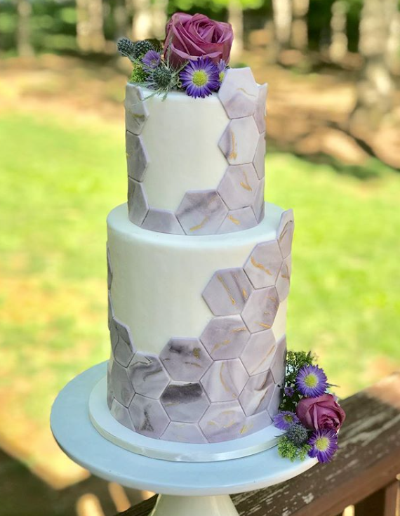 Elegant geometric fondant wedding cake