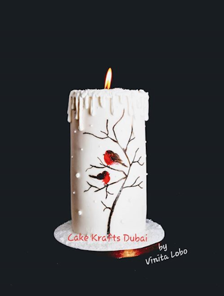 White Fondant Christmas candle cake