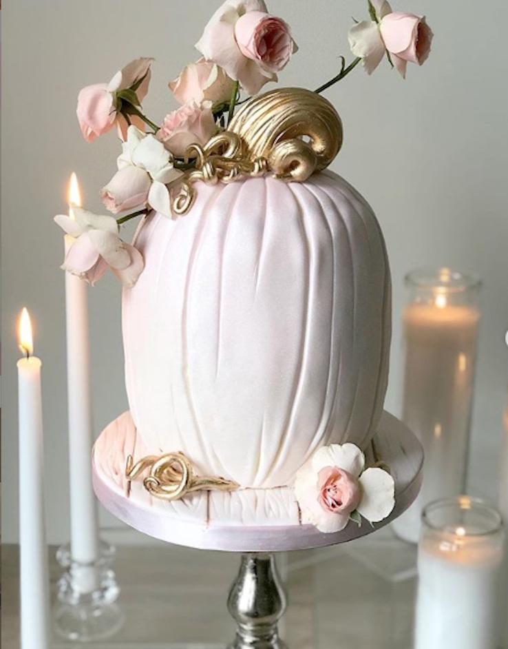 Light pink pumpkin cake with gold