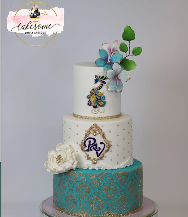 Turquoise and fondant wedding cake