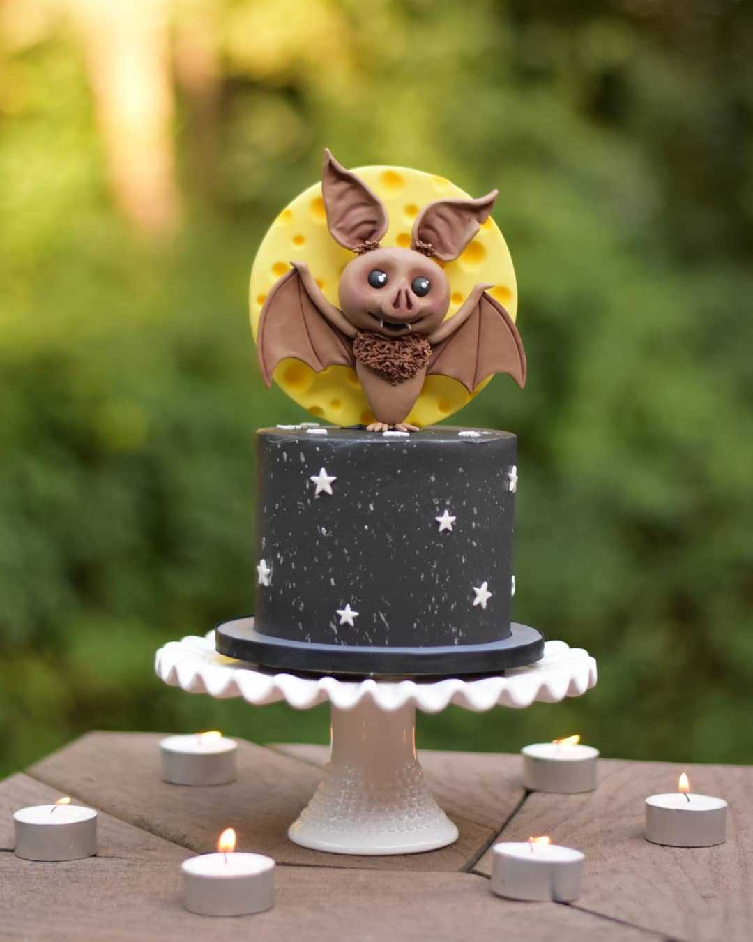 Halloween cake with bat topper