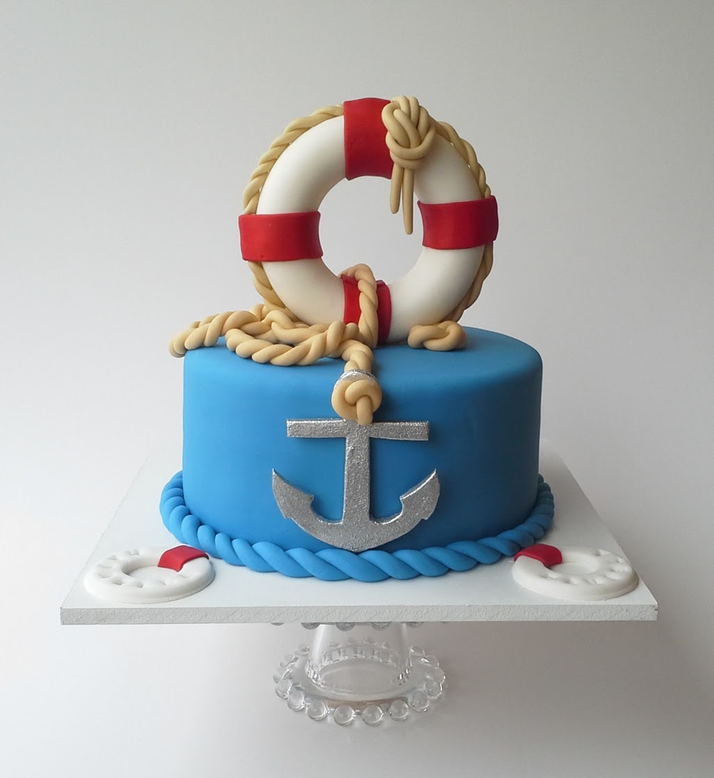 Blue and red nautical fondant birthday cake
