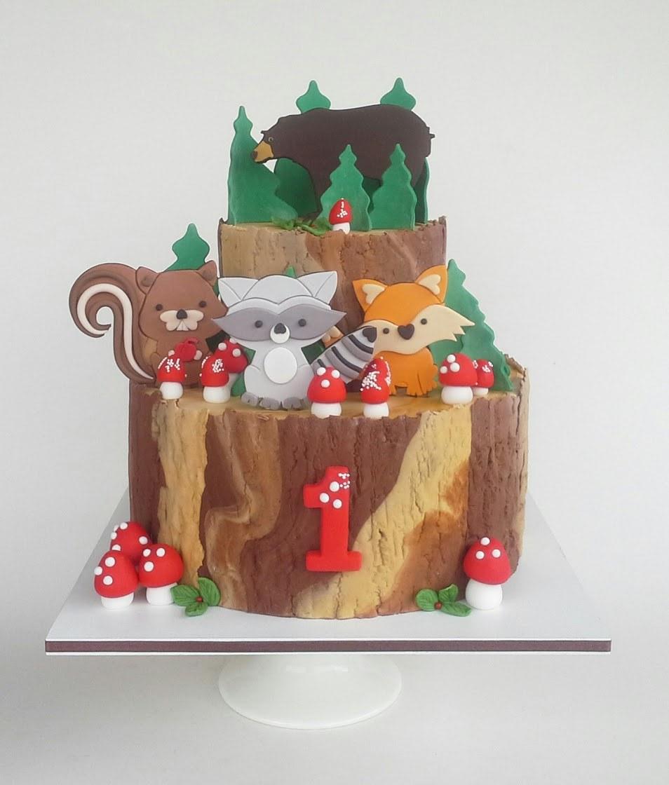 Woodland critters 1st birthday fondant cake