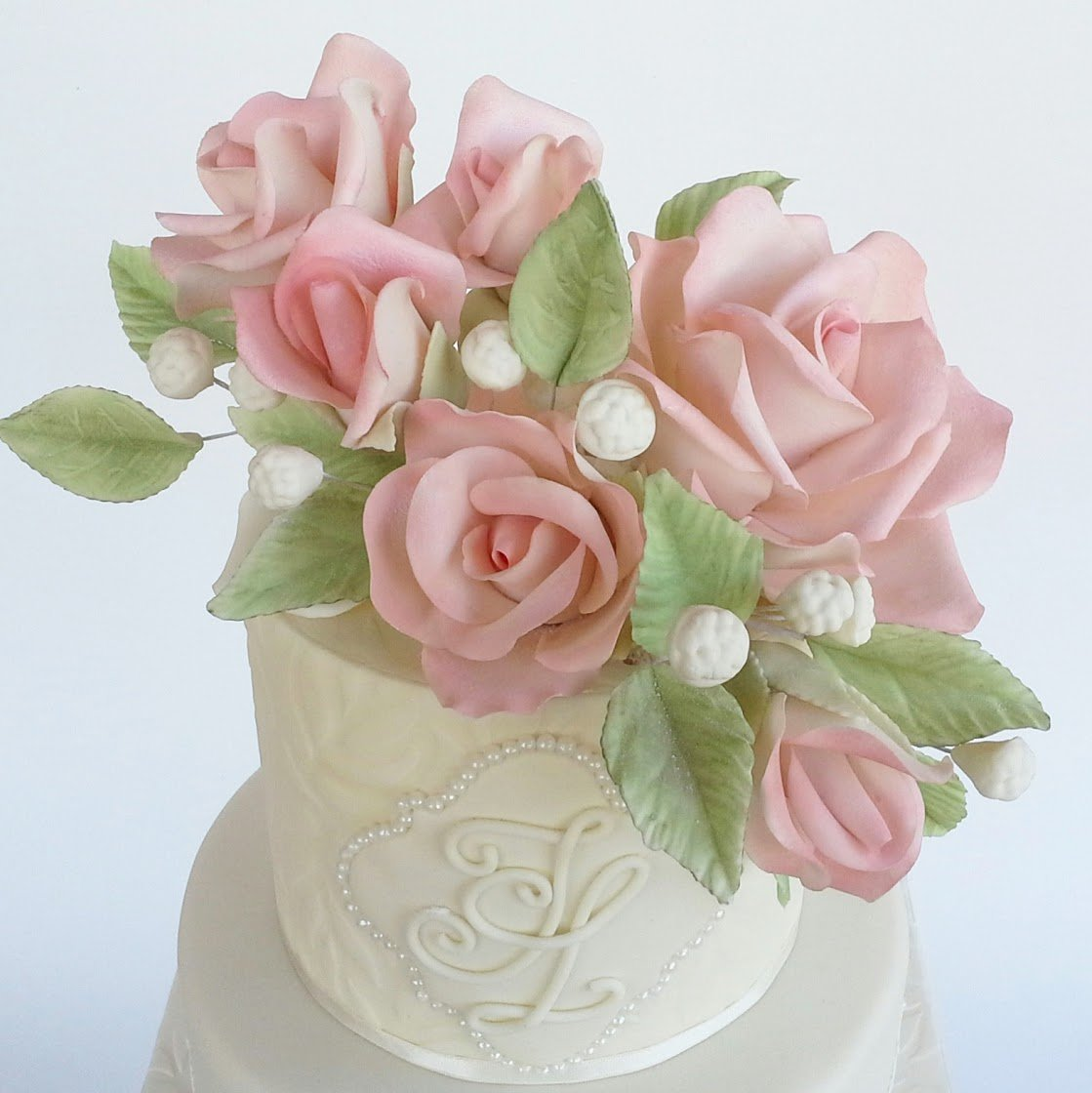 light Pink gum paste sugar flower bouquet