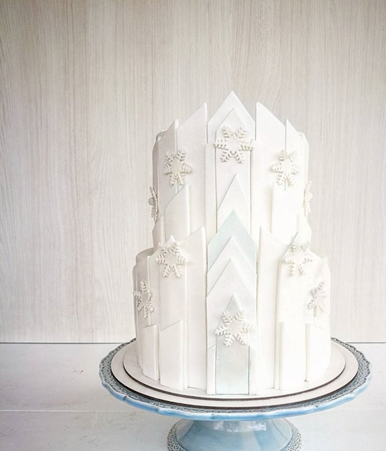 All white fondant cake with snowflakes