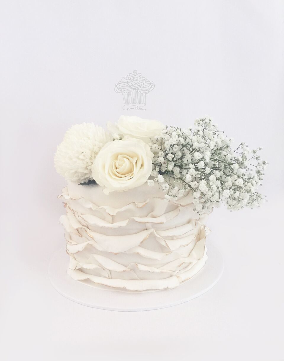 White Mini Ruffle Wedding Cake