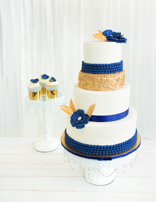 white gold and royal blue wedding cake chand satin 27292