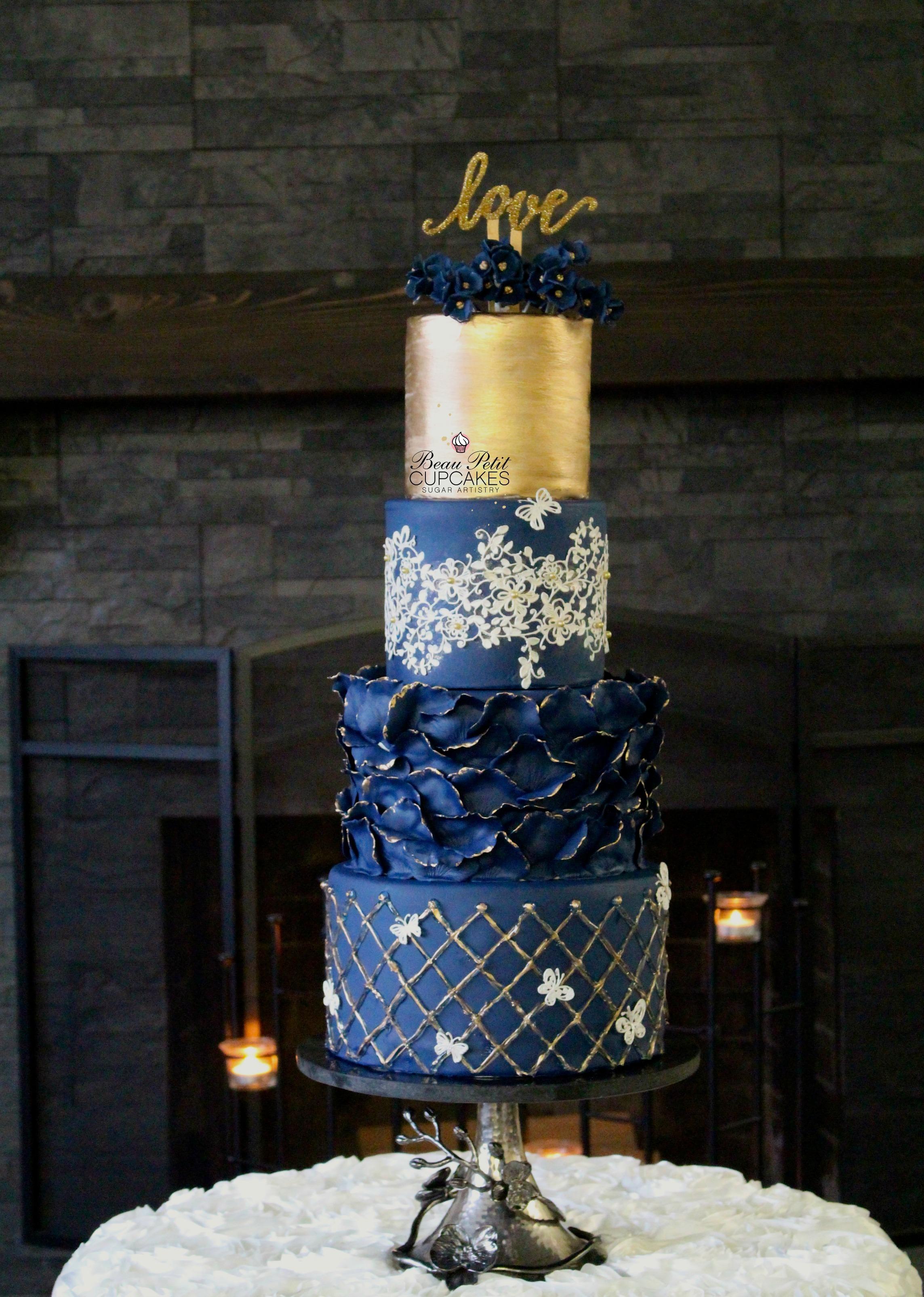 Navy and Gold fondant ruffle Wedding cake
