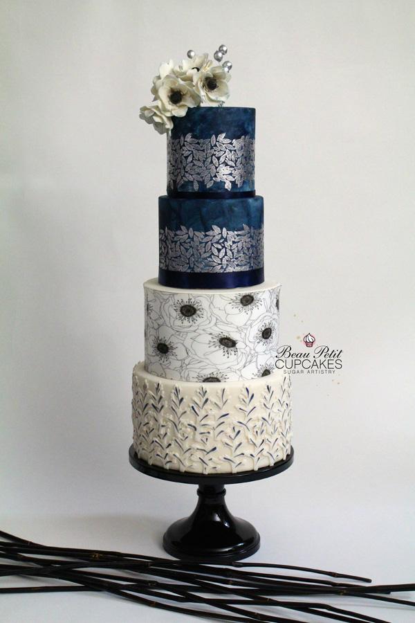 Navy & White fondant wedding cake
