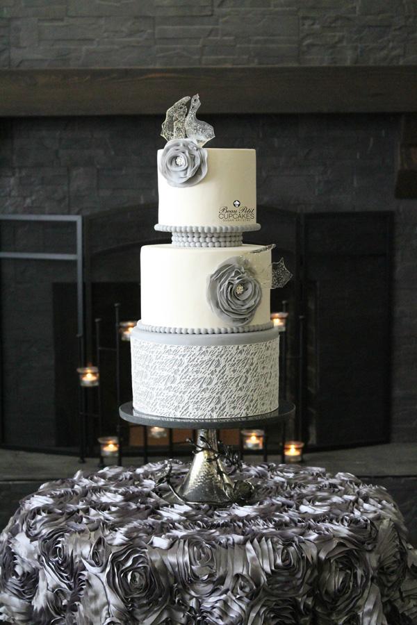 Light Gray & White fondant wedding cake