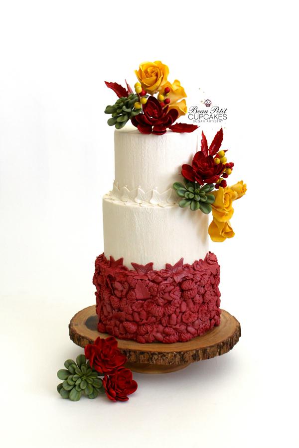 Red & White bas relief fondant wedding cake