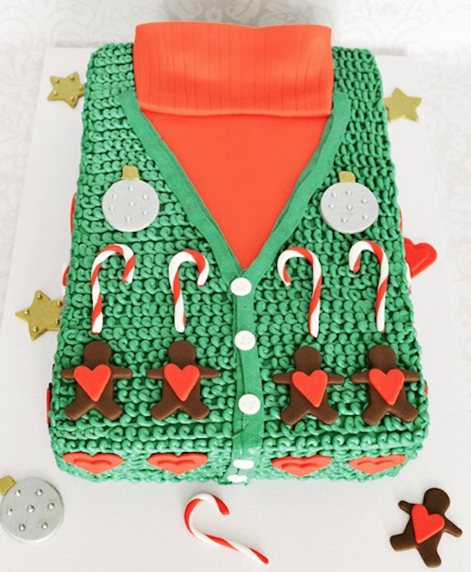 Green fondant ugly Christmas sweater cake