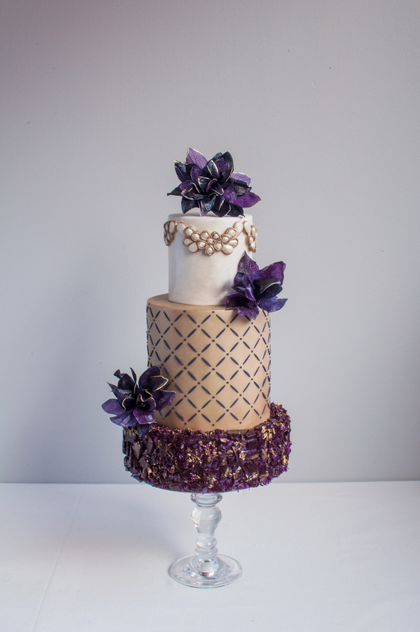 Dark purple and taupe fondant wedding cake