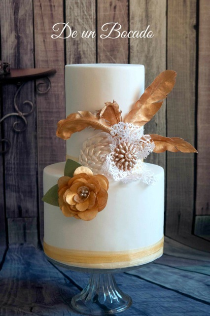 White fondant Wedding cake with Gold accents