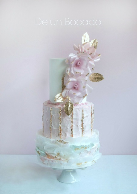 White & baby pink bark wedding cake