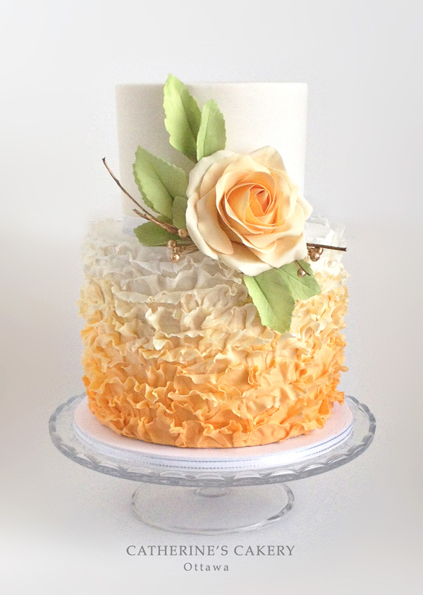 Orange Ombre ruffled fondant Wedding cake