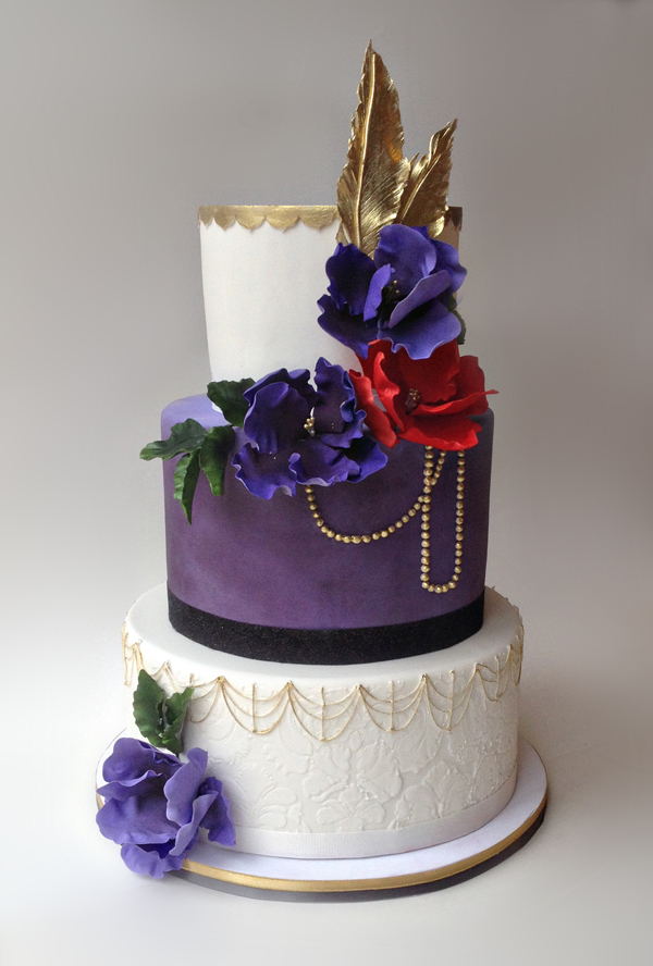 Purple and white gatsby wedding cake