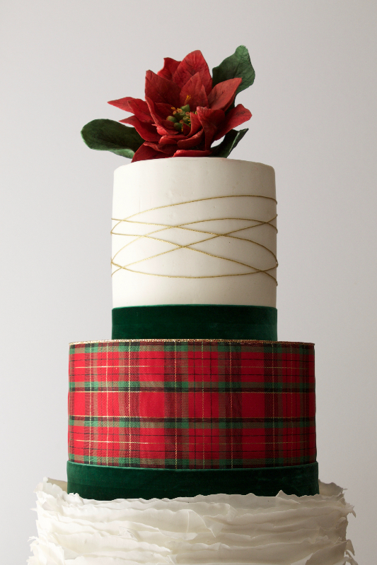 White ruffle and red plaid winter wedding