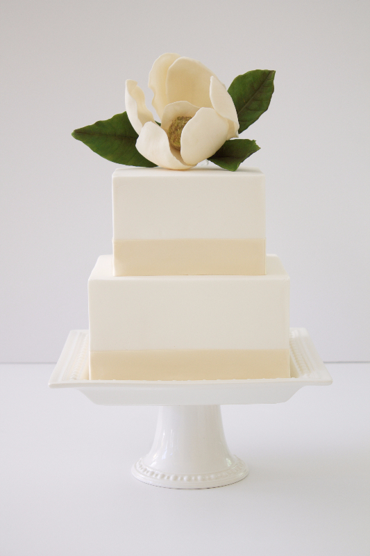 Ivory square fondant wedding cake