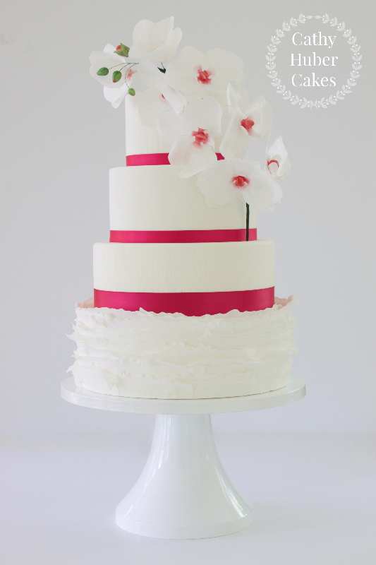 White with red trim muffle wedding