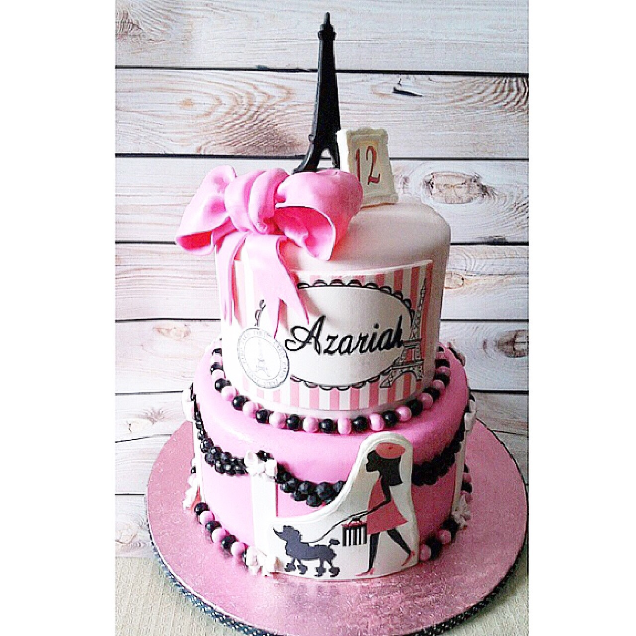 Light pink and black Parisian fondant Birthday cake