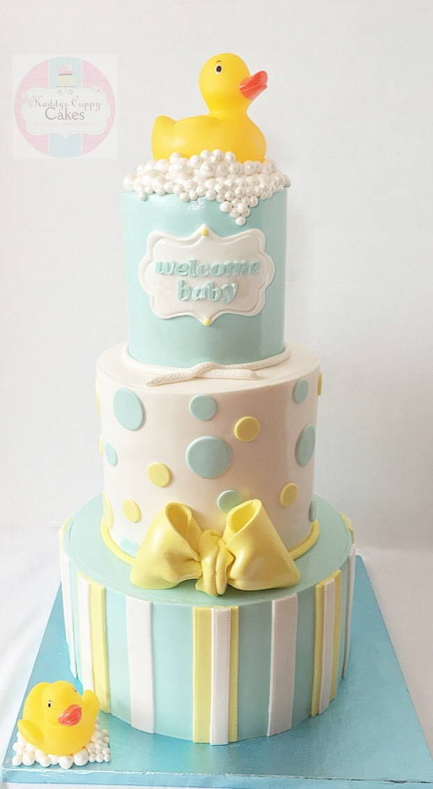 Baby shower rubber ducky fondant cake