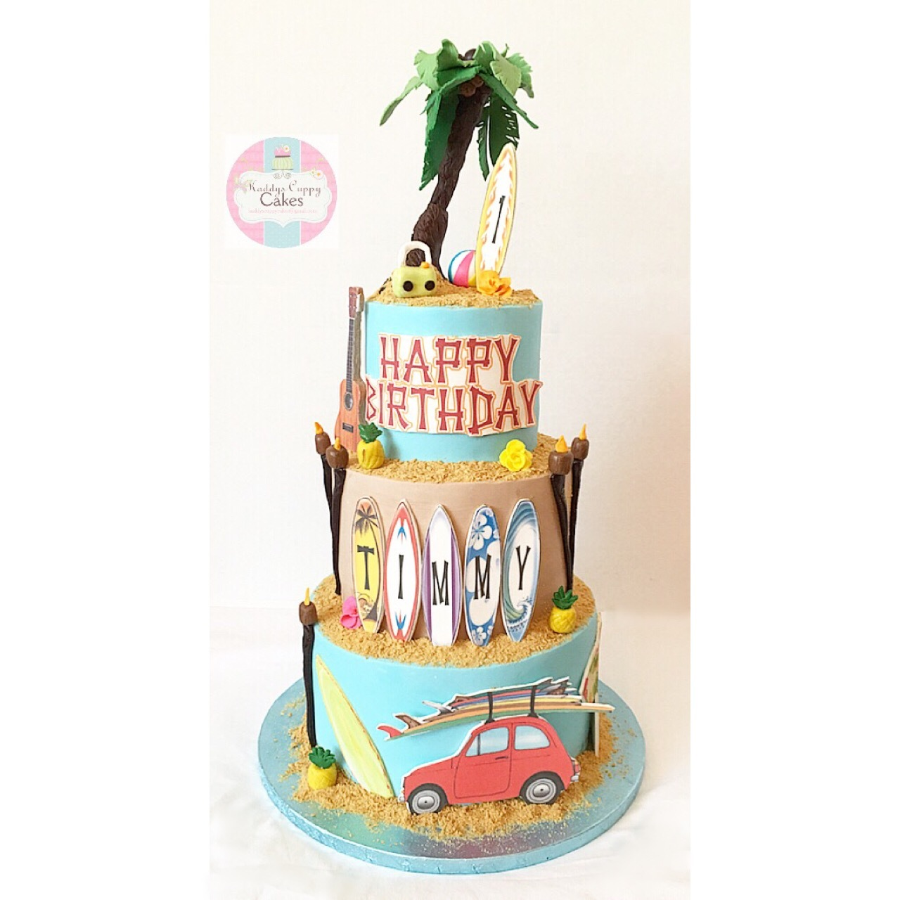 Beach themed fondant birthday cake