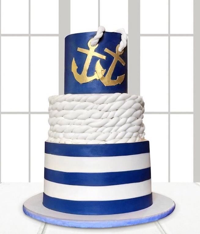 Blue and white fondant nautical cake
