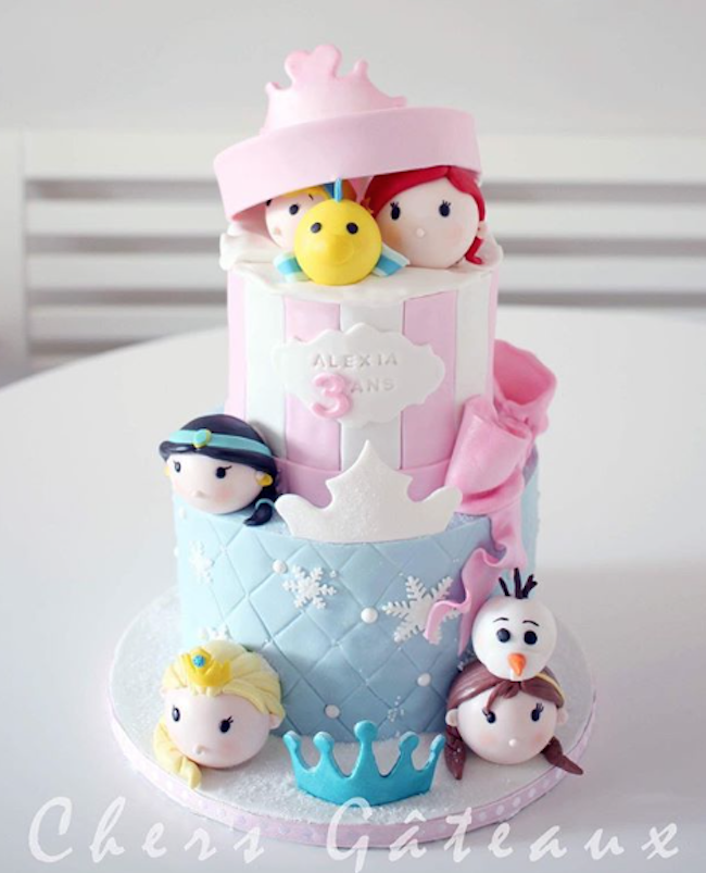 Disney princess tsum tsum fondant birthday cake
