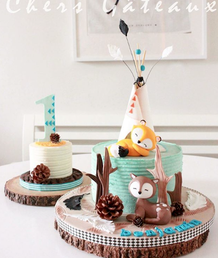 Woodland fox fondant birthday cake