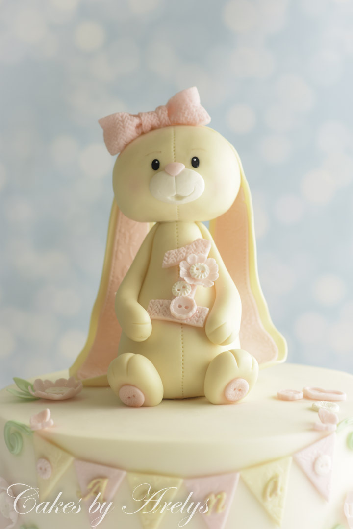 Baby white bunny modeling chocolate cake topper