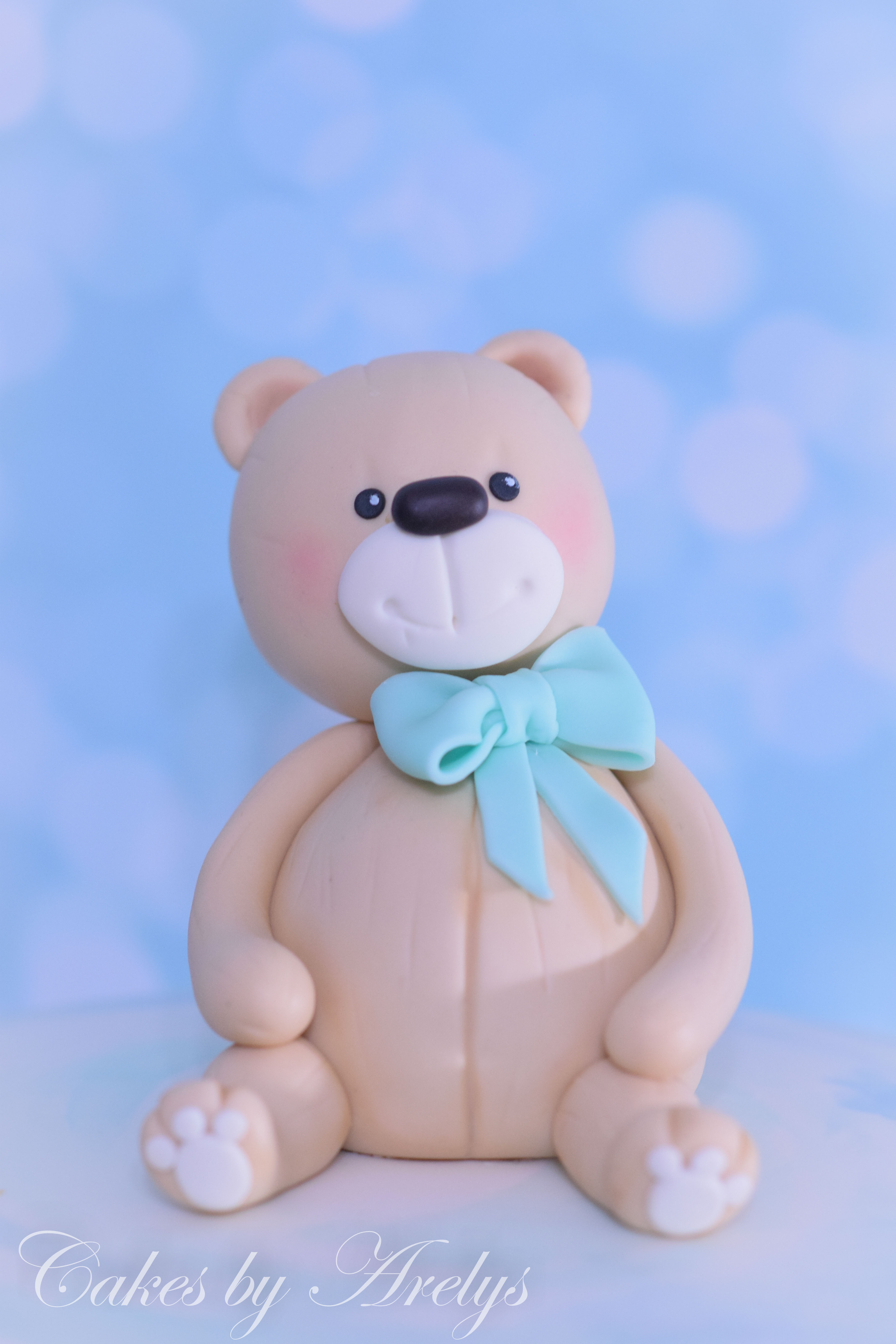 Baby teddy bear modeling chocolate cake topper