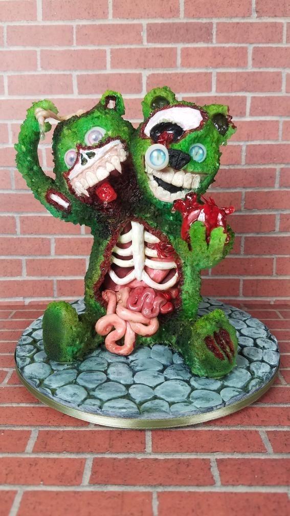 Zombie bear bust cake