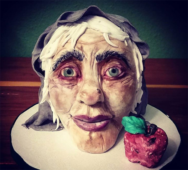 Wicked Queen sculpted bust cake