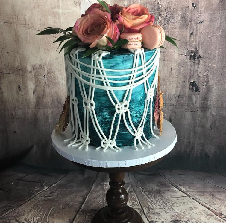 Boho macrame cake