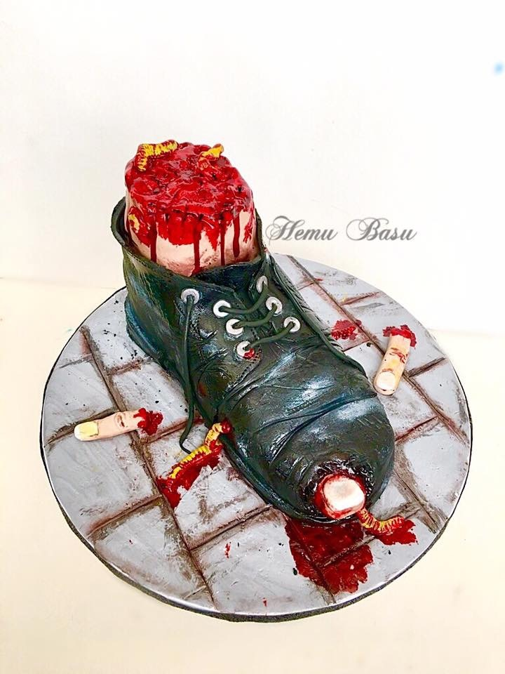 Bloody Halloween boot cake