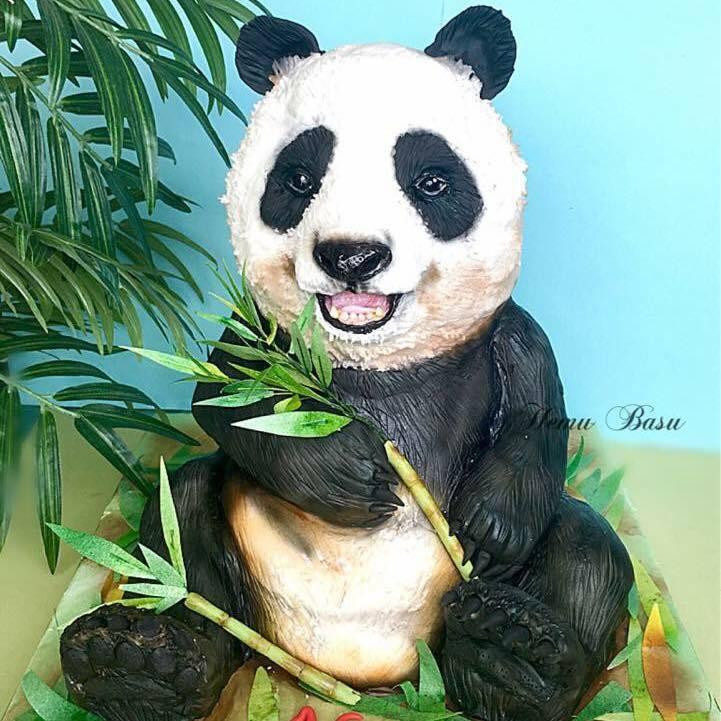 Panda bear cake made of modeling chocolate