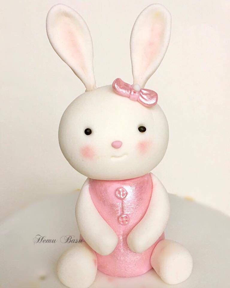 Baby white bunny cake topper
