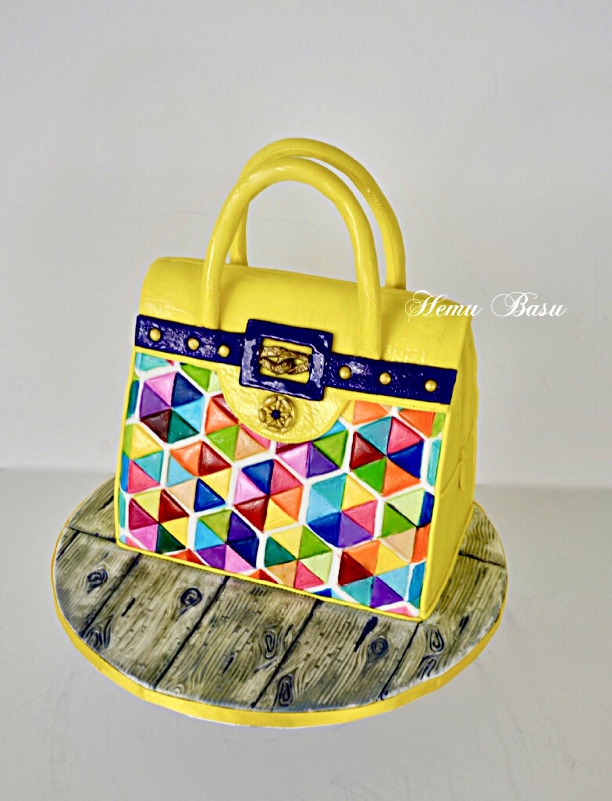 Yellow hand bag cake