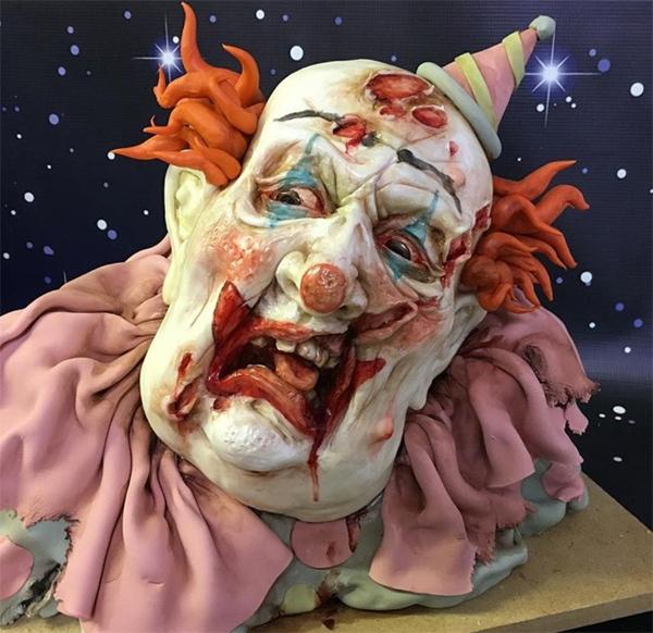 Zombie clown bust cake