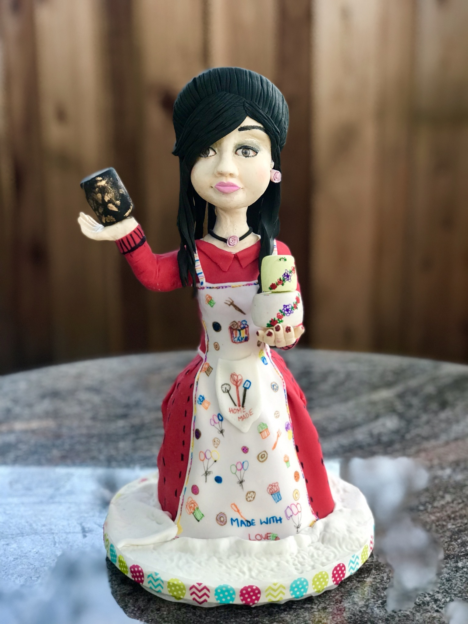 Modeling chocolate baker girl figurine