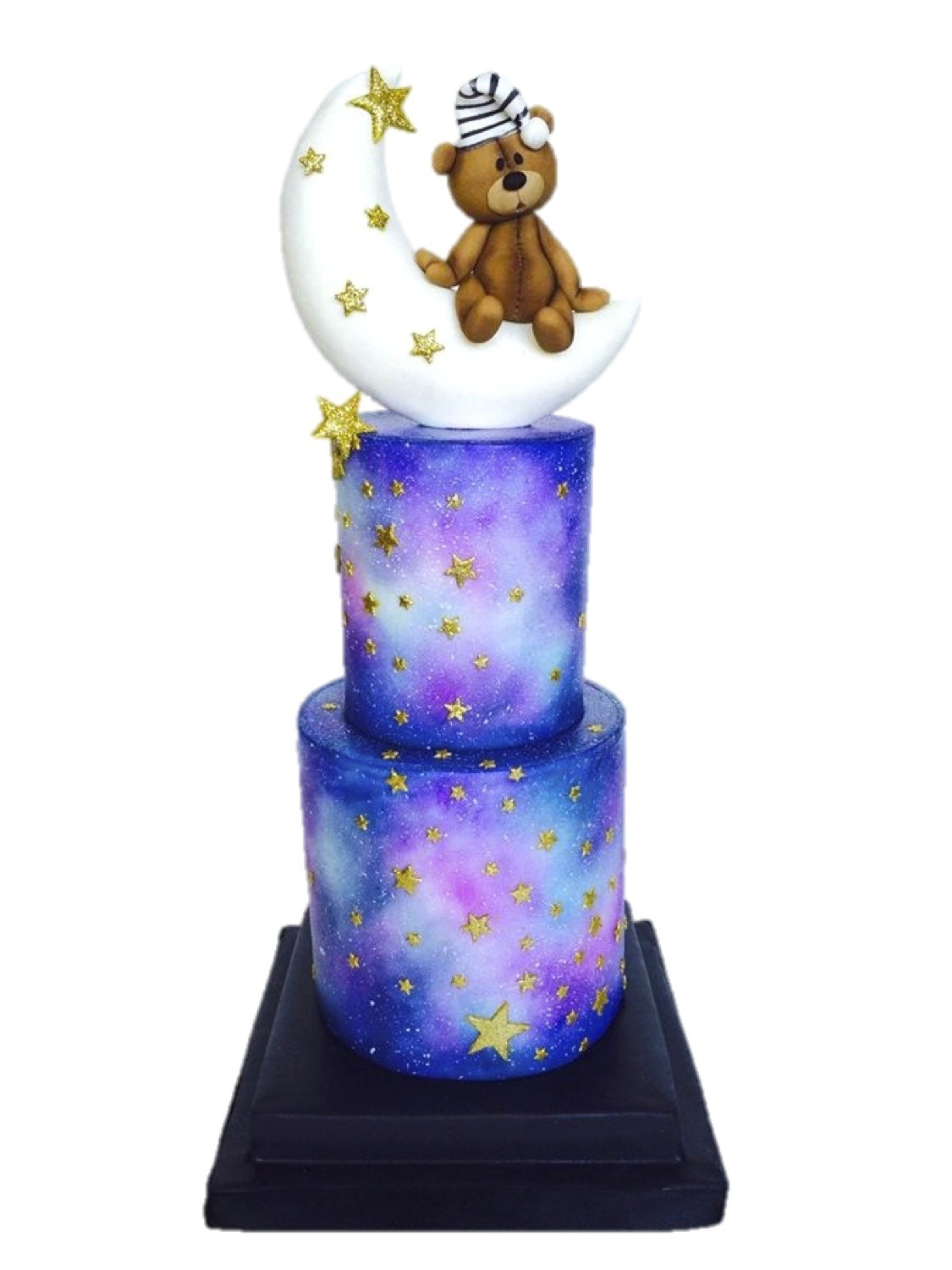 Watercolor cake with baby teddy bear