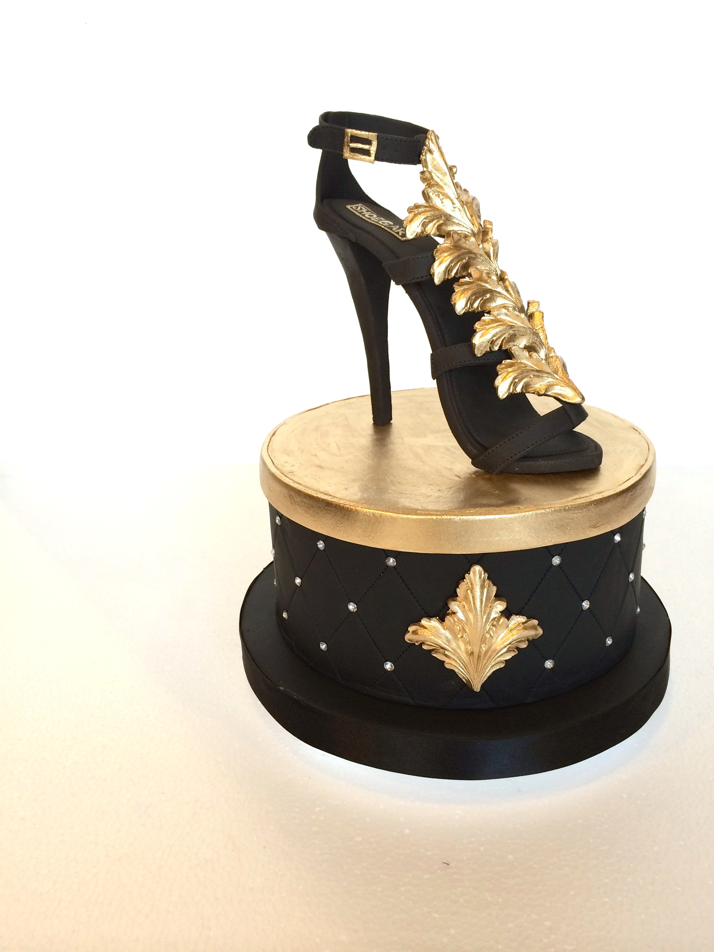 black with gold high heel gladiator sugar shoe