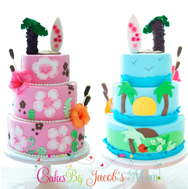 Blue and pink beach themed fondant birthday cake