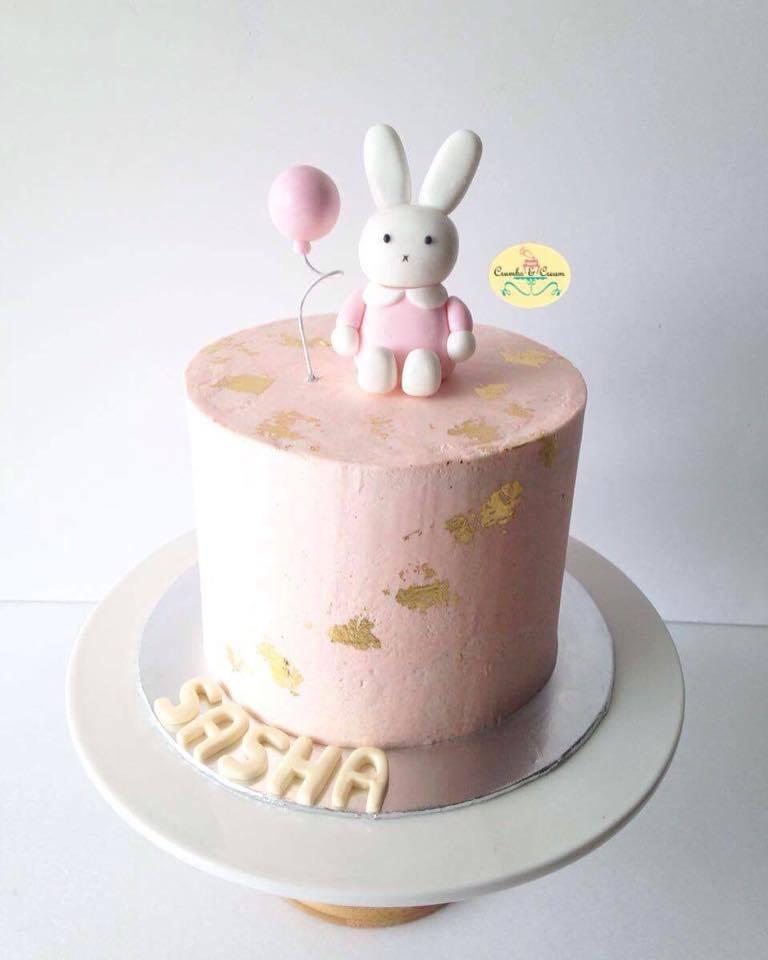 Pink & gold Mini Bunny Birthday cake
