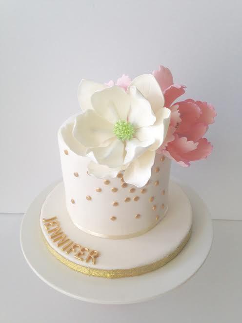 White with gold mini cake