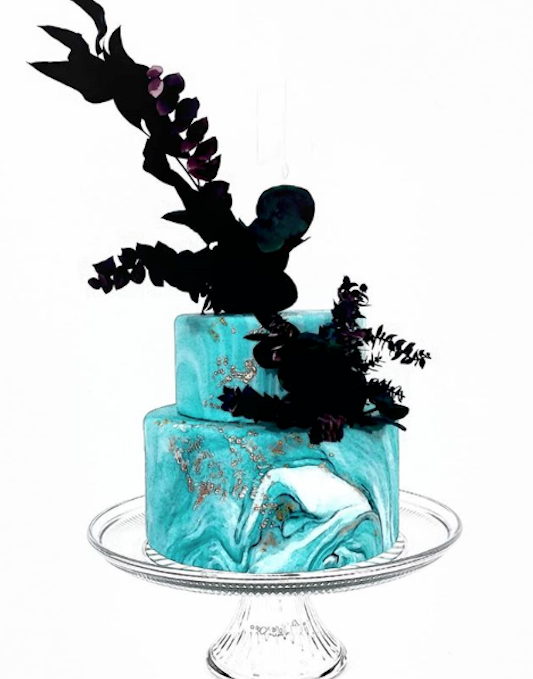 Marbled turquoise fondant wedding cake