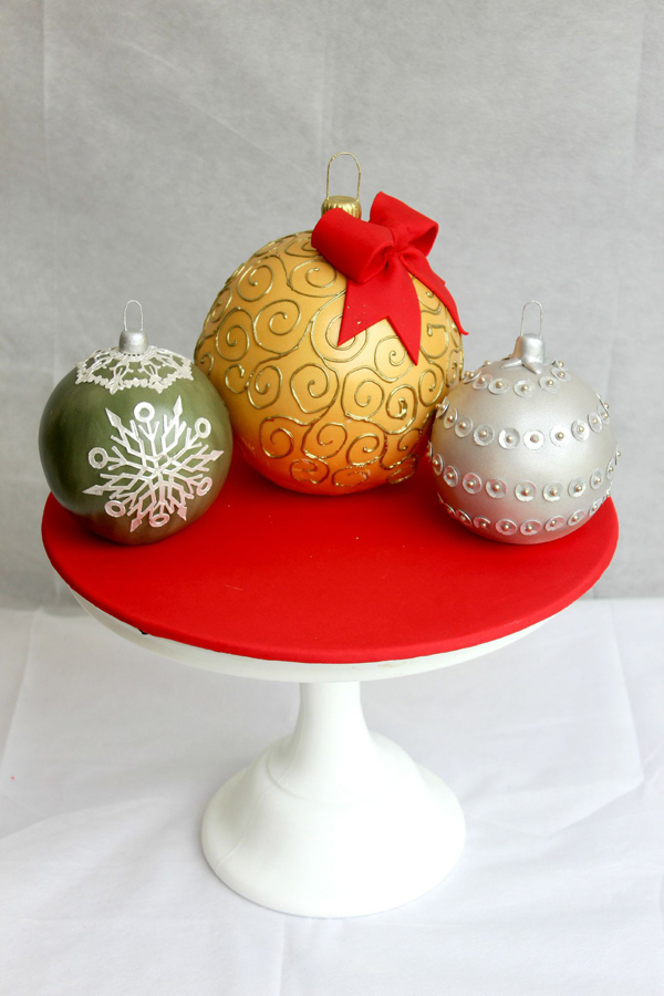 Christmas fondant Ornament cakes
